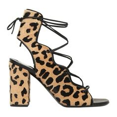Saint Laurent Leopard Heeled Sandals ($895) ❤ liked on Polyvore featuring shoes, sandals, kirna zabete, new year new you, lace up block heel sandals, high heel shoes, leopard print sandals, leather sole sandals and leopard print shoes