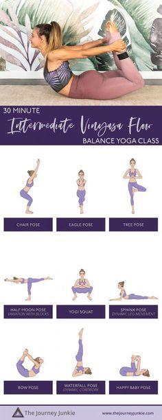 Intermediate Vinyasa Yoga Flow for Full Body Balance - The Journey Junkie Yoga Inversions, Vinyasa Yoga, Yoga Arm Balance, Happy Baby Pose, Free Yoga Classes, Bow Pose, Gentle Yoga, Advanced Yoga, Yoga For Flexibility