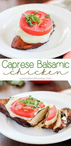 Easy Balsamic Chicken recipe with a caprese twist! Chicken breasts are cooked until tender in a flavorful balsamic sauce then topped with mozzarella, basil & tomato. Low carb and gluten free