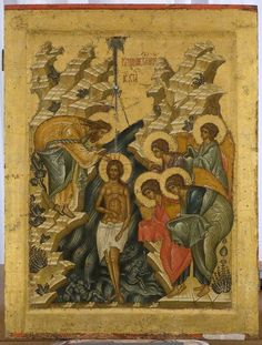 The Baptism of Christ, Eastern Orthodox icon Byzantine Icons, Byzantine Art, Christian Paintings, Christian Art, Religious Icons, Religious Art, Baptism Of Christ, Church Icon, Scripture Art