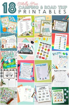 18 Totally Free Camping Camping Bingo, Camping Scavenger Hunts, Camping Activities, Camping Theme, Camping Ideas, Printable Stickers, Free Printables, Camping Drawing, Road Trip With Kids