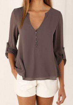 V-Neck Long Sleeve Blouse | V Neck Blouses For Women