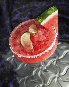 Watermelon Margarita: •1.5 oz. top shelf tequila, •.5 oz. Triple Sec, •.5 oz. agave nectar, •juice from ½ lime, •4 cubes of fresh watermelon In a shaker, muddle watermelon and lime juice, add remaining ingredients plus a cup of ice.