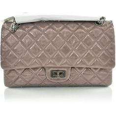 CHANEL Leather 2.55 Reissue 227 Flap Rose Fonce NEW ❤ liked on Polyvore