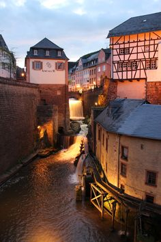 Waterfall and water mills in Saarburg, Germany