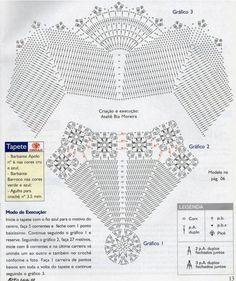 Resultado de imagem para tapete de croche com flores grafico
