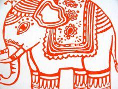 LINOCUT PRINT - ganesha elephant ORANGE print 8x10