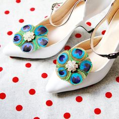 Peacock Shoe Clips Feather Shoe Clips  Wedding Shoes Clips