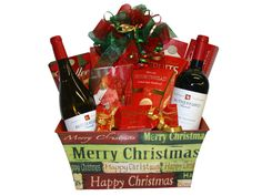 Santa Claus is coming to town...with wine! Send someone special this gift basket with a bottle each of Rodney's Cabernet Sauvignon and Chardonnay, assorted biscotti cookies, shortbread cookies, and chocolates. This gift basket spreads Christmas cheer, and then some!  No Minimums. Contact us to customize the perfect Christmas gift basket to fit your budget. Christmas Wine, Perfect Christmas Gifts, Christmas Holidays, Merry Christmas, Christmas Ideas, Xmas, Biscotti Cookies, Shortbread Cookies, Holiday Gift Baskets