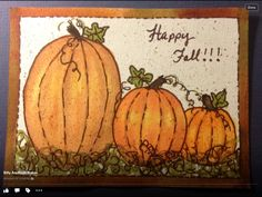 Three pumpkins in watercolor. Happy Fall!