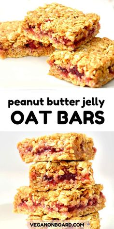 Inspired by the classic combination of PB&J these peanut butter no bake oat bars are so simple to make and taste great. Just 4 simple ingredients! Vegan Breakfast Recipes, Good Healthy Recipes, Healthy Foods To Eat, Whole Food Recipes, Vegetarian Recipes, Snack Recipes, Cooking Recipes, Oatmeal Recipes, Healthy Oat Bars