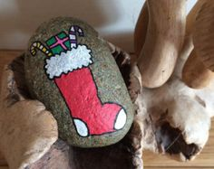 Hand Painted Beach Pebble Xmas Stocking
