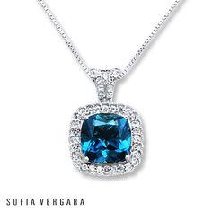 SOFIA VERGARA Necklace Blue/White Topaz Sterling Silver