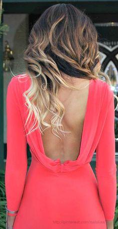 ombre curls + open back.