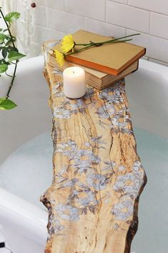 A floral tub board will make bath time even better.   #spring #flowers #diy #homeinspo #handmade