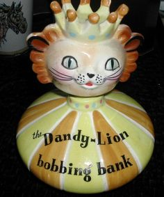 Vintage Howard Holt Pottery The Dandy Lion Bobbing Bank Cute Bobblehead Nodder