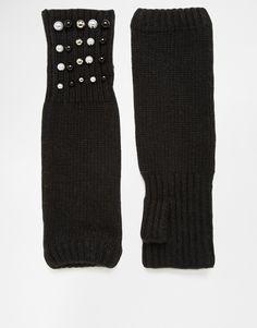Handschuhe von Alice Hannah Feinstrick langes, fingerloses Design Kunstperlenverzierung Handwäsche 60% Nylon, 40% Lambswool