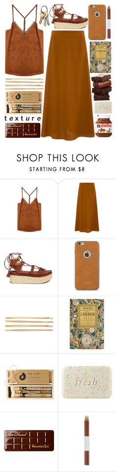 """""""Textureee"""" by samantha-1221 ❤ liked on Polyvore featuring Rosetta Getty, Stuart Weitzman, Moshi, Cara, Truly Aesthetic, Fresh, Too Faced Cosmetics, Faber-Castell and Topshop"""