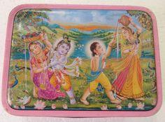 Vintage Tin Sweet box Hindu Balram Krishna & Gopis Subject Religious India 1980