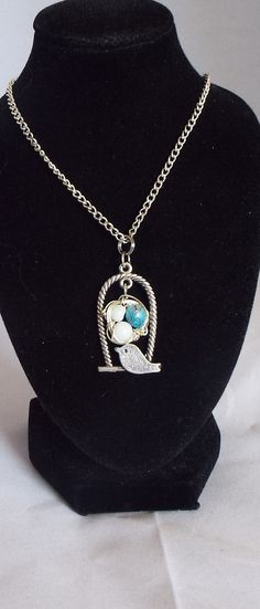 Bird Cage and Wire Wrapped Nest w/Eggs Necklace #etsy  #design