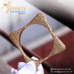 Bezel Set Diamond Gold Square Shaped Bangle