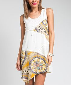 Look at this Cream & Yellow Patchwork Shift Dress on #zulily today!