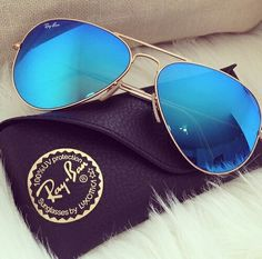 Ray ban mirror electric blue aviator sunglasses