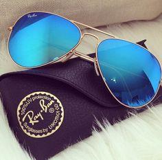 Ray ban mirror electric blue aviator sunglasses
