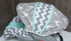 Car Seat Infant Seat Cover  Buck  Chevron  Woodlands  by Babylooms