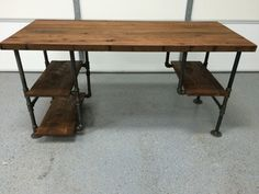 Rustic Reclaimed Barn Wood Computer Desk Table W/ 3 Shelf System- Solid Oak W/ 28 Black Iron Pipe legs. This unique item was created using salvaged Oak from an old Kentucky barn. The house on the farm was built in the late 1800s and the barn was standing when the current owners purchased the land over 50 years ago. This Computer Desk is made from thick solid oak boards straight out of that barn. The age is apparent in every single inch of this item. I went to great care to make sure the…