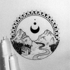 #landscape #blackwork #iblackwork #illustration #blackflashwork #tattoopins #onlyblackart #drawing #arts_gallery #geometry #blxckink