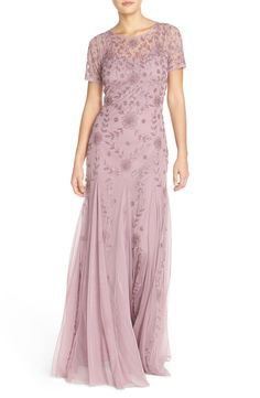 Adrianna Papell Beaded Mesh Illusion Gown (Regular & Petite)