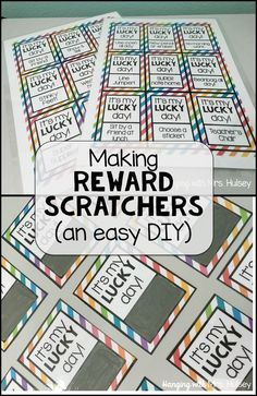DIY Scratch-Off Reward Cards! How to make reward scratchers Classroom Incentives, Classroom Economy, Classroom Behavior Management, Classroom Organization, Class Management, Behaviour Management, Middle School Incentives, Classroom Prizes, 2nd Grade Classroom