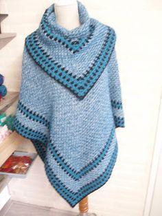 Anja heeft deze schitterende   poncho afgelopen week gemaakt.   We zijn helemaal in de granietsteek momenteel.                ...