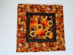Quilted Fall Table Topper with Sunflowers by ForgetMeNotQuilteds