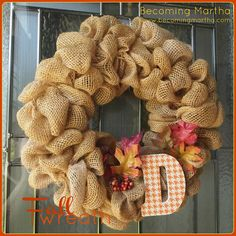 how to make a burlap wreath - Google Search