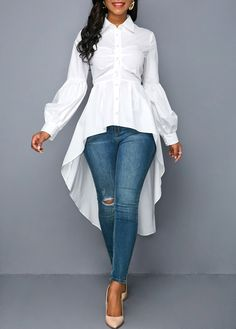 27367835740d19 Button Up Lantern Sleeve High Low White Blouse