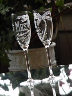 Beach Theme Destination Wedding Champagne Flutes. MR and MRS, palm tree and any location. South Beach, Key West, Cancun, Set of 2. $48.00, via Etsy.