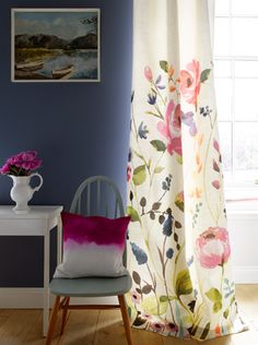 Modern and abstract floral bedding, cushions & home accessories. Bluebellgray now ship worldwide. Design Studio, House Design, Painted Curtains, Bluebellgray, Flower Curtain, Interior And Exterior, Interior Design, Curtain Designs, My Living Room