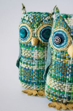 Handmade Fabric Bird Owl / Blue and Green Vintage Wool / Made to Order via Etsy. From Blue Terracotta