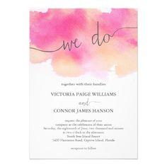 Vibrant Dreams Wedding Invitation / Pink Peach. Fuchsia / Fuschia / orange / Coral / Modern / Watercolor