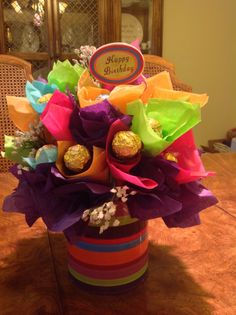 My first try at a candy flower bouquet. Paper Bouquet, Candy Bouquet, Candy Flowers, Paper Flowers, Liquor Bouquet, Candy Crafts, Colorful Candy, Valentine Gifts, Food Videos