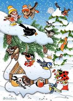 Feed The birds! Farm Crafts, Diy And Crafts, Winter Activities For Kids, Christmas Bird, Winter Images, Nature Journal, Art Lessons Elementary, Winter Season, Clipart