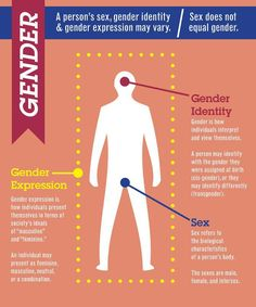This picture also explains sex and gender identity again by pointing out the regions that it apply s to but instead also includes gender expression. Gender expression explains the overall feeling of being feminine or masculine that is seen all over the body. This helps separate sex and gender and for others to comprehend how someone can feel that might not always relate to their gender or sex.