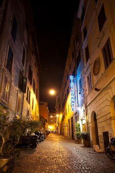 Night street, Rome, Italy