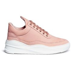 Filling Pieces 'Low Top' nubuck leather sneakers (€250) ❤ liked on Polyvore featuring shoes, sneakers, pink, pink evening shoes, filling pieces, filling pieces sneakers, nubuck shoes and handcrafted shoes