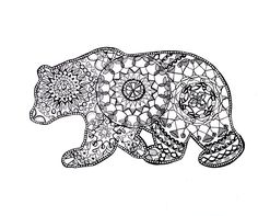 California Bear  Mandala Drawing Fine Art Prints