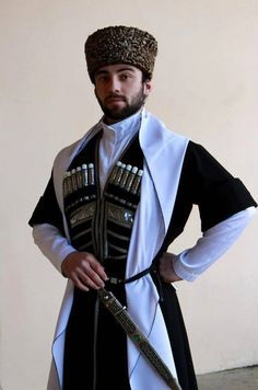 Georgian men costume of Caucasus people