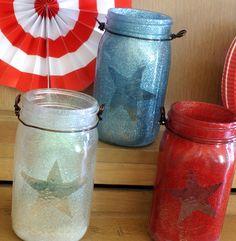 Glitter mason jar lanterns