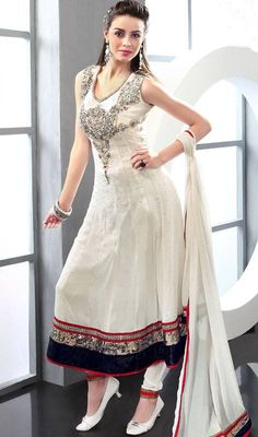 White Anarkali Frocks Collection For  Eid 2014